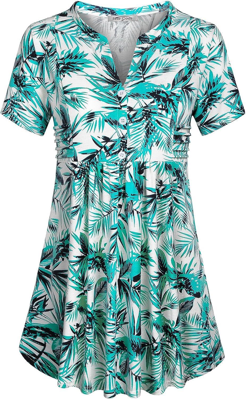 SeSe Code Women's Short Sleeve Notch V Neck Empire Waist Tunic Peplum Shirt Babydoll Top
