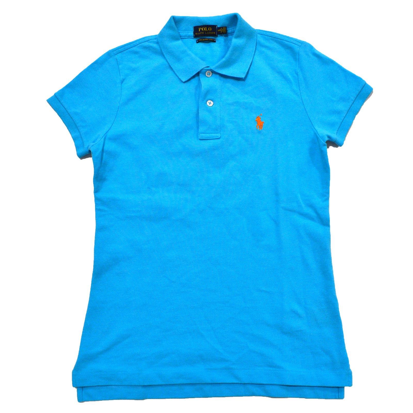 Ralph Lauren Womens Skinny Fit Mesh Polo Shirt (M, Blue)