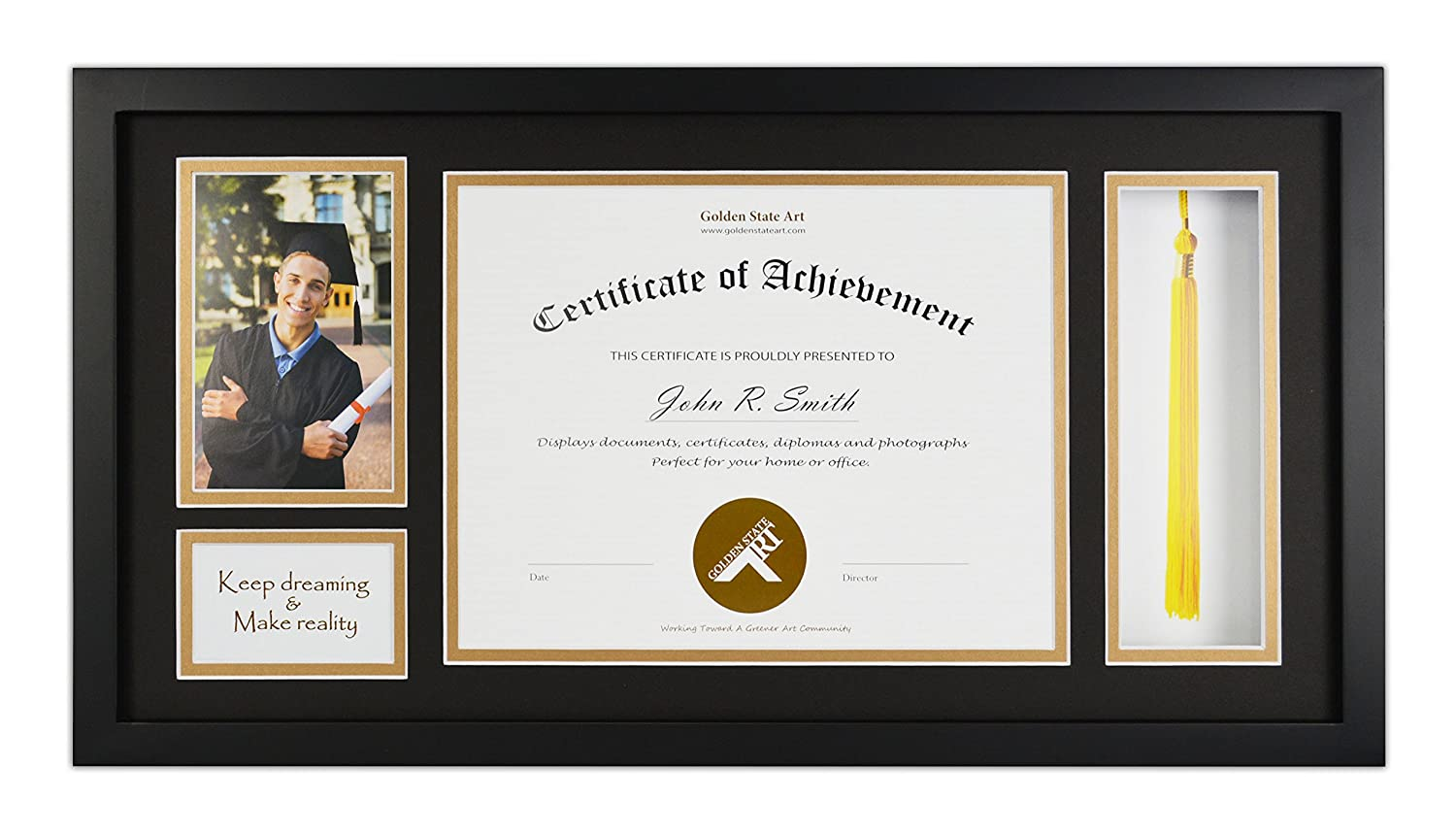 Golden State Art, Diploma Tassel Shadow Box 11x22 Frame for 8.5x11 Document/Certificate & 4x6 Photo, with Double Mat (Black Over Gold), Tassel Holder & Real Glass, Black
