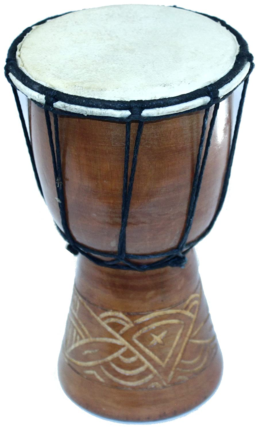Djembe or Jembe Drum With nature and Animals carving from Jerusalem - Small ( 19cm or 7.5 Inches high ) by Holy Land Market Imported SmallTablaCarved