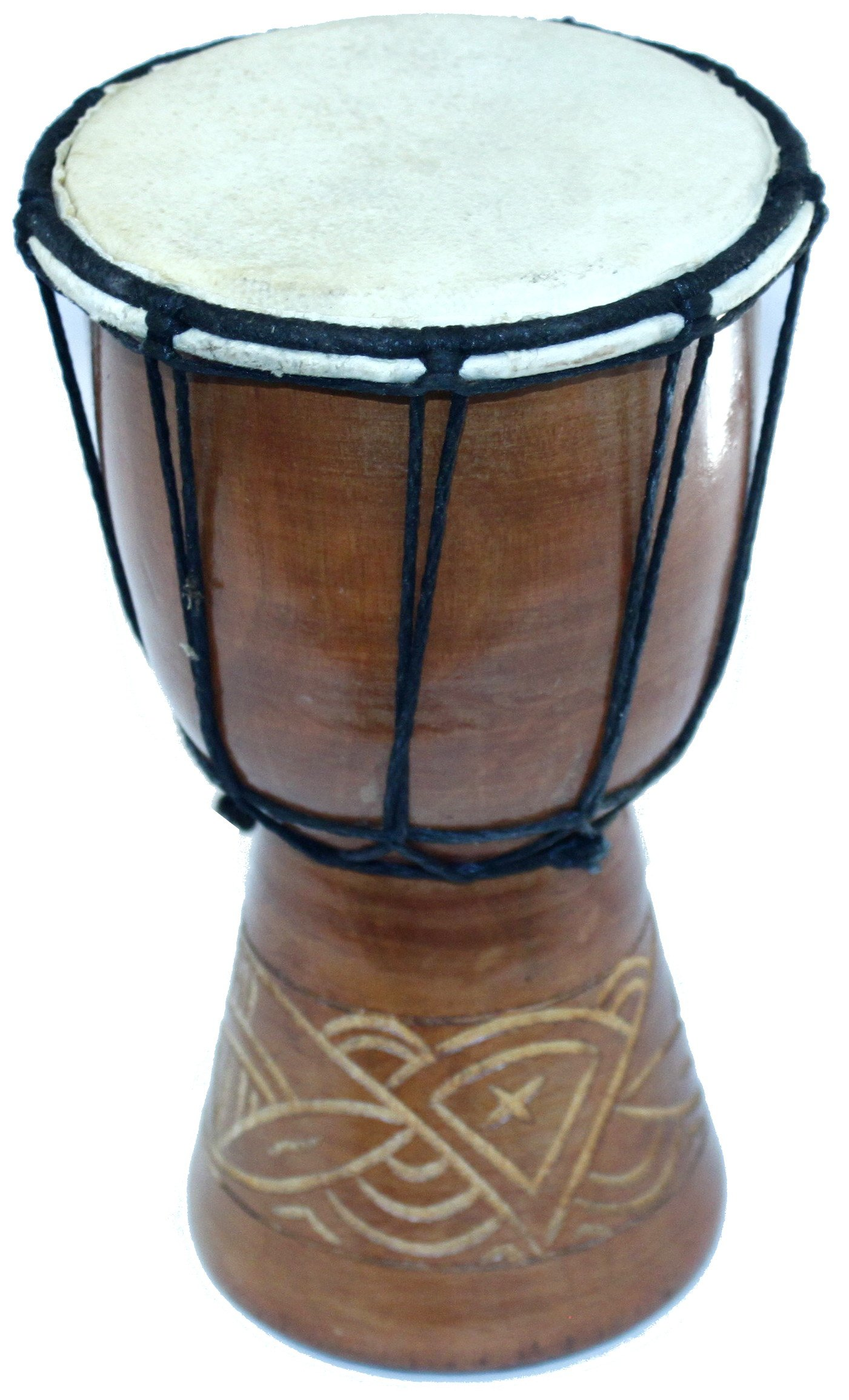 Djembe or Jembe Drum With nature and Animals carving from Jerusalem - Small (19cm or 7.5 Inches high) by Holy Land Market