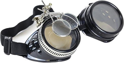 Steampunk Victorian Welding Copper Goggles 2X Lens Scissors Punk Goth Cosplay
