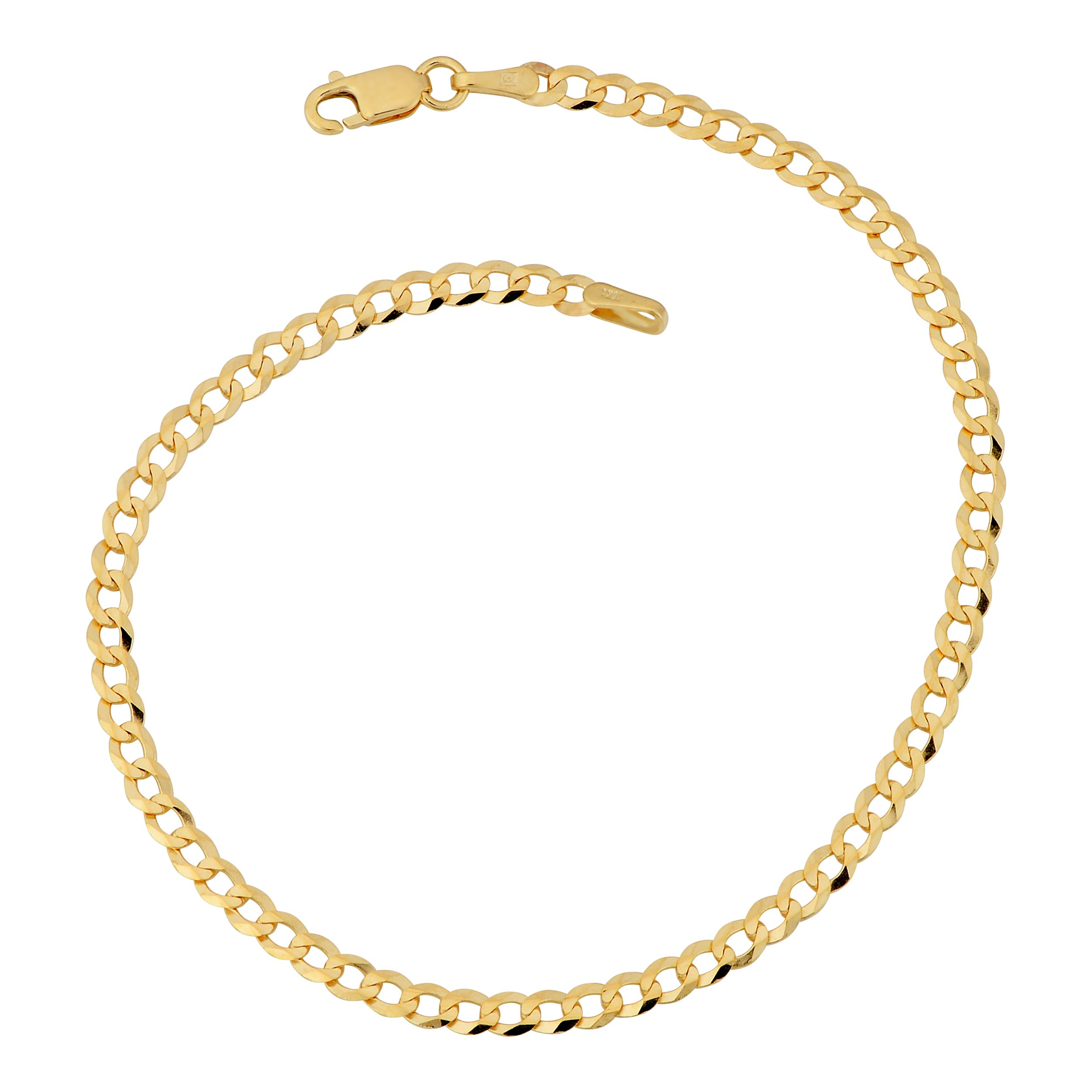 Kooljewelry 10k Yellow Gold 3 mm High Polish Curb Link Anklet
