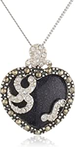 """Sterling Silver Marcasite and Blue Gold Stone Heart Pendant, 18"""""""