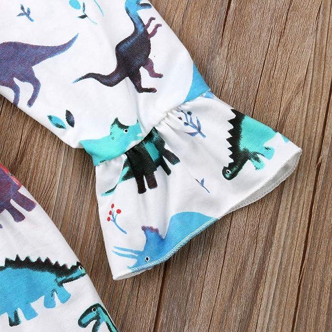 GuliriFei Girls Dinosaur Print Dress Long Sleeve Ruffles Swing Dress