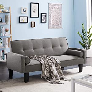 Recaceik Modern Futon Sofa Bed Convertible Love Seat Couch Linen Fabric Sleeper Sofas with 2 Pillows Furniture for Small Apartment Living Room(Gray)
