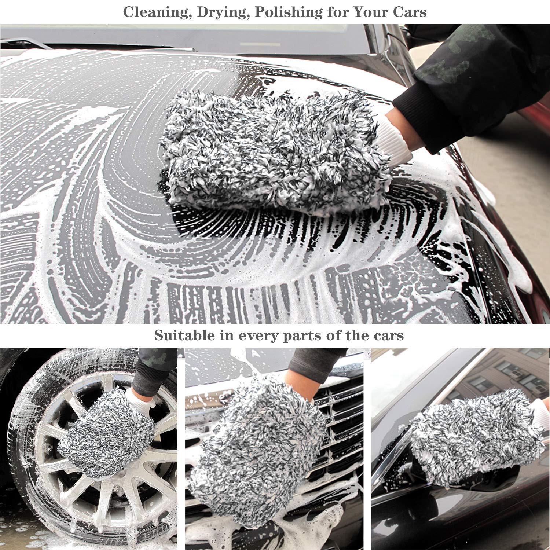 Gant Vitre Lavage Auto 2PCS Gris Bleu WEKON Gants Ultra Doux en Microfibre pour Lavage de Voiture