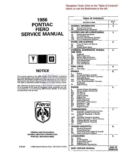 1986 Pontiac Fiero Wiring Schematic