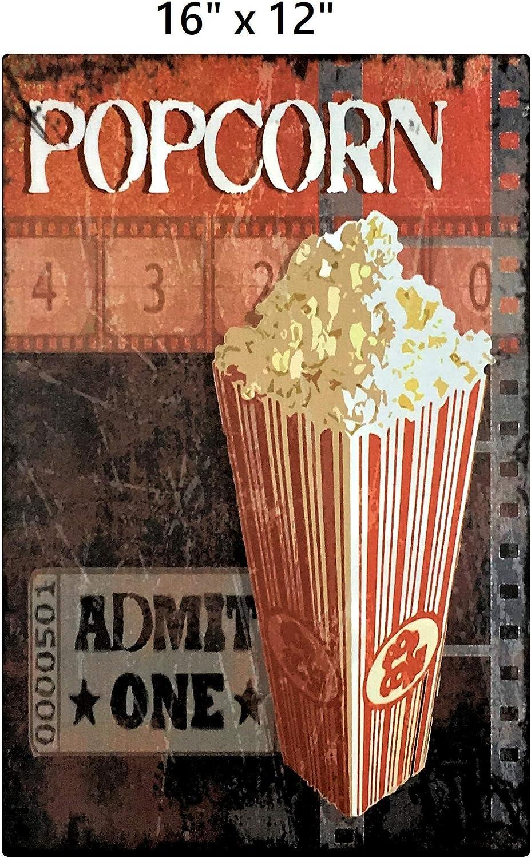 UNiQ Designs POPCORN ADMIT ONE Media Room Decor Tin Signs Theater Sign - Movie Room Decor Accessories - Film Decor - Home Movie Theater Decor - Movie Reel Wall Decor - Vintage Movie Decor 16x12