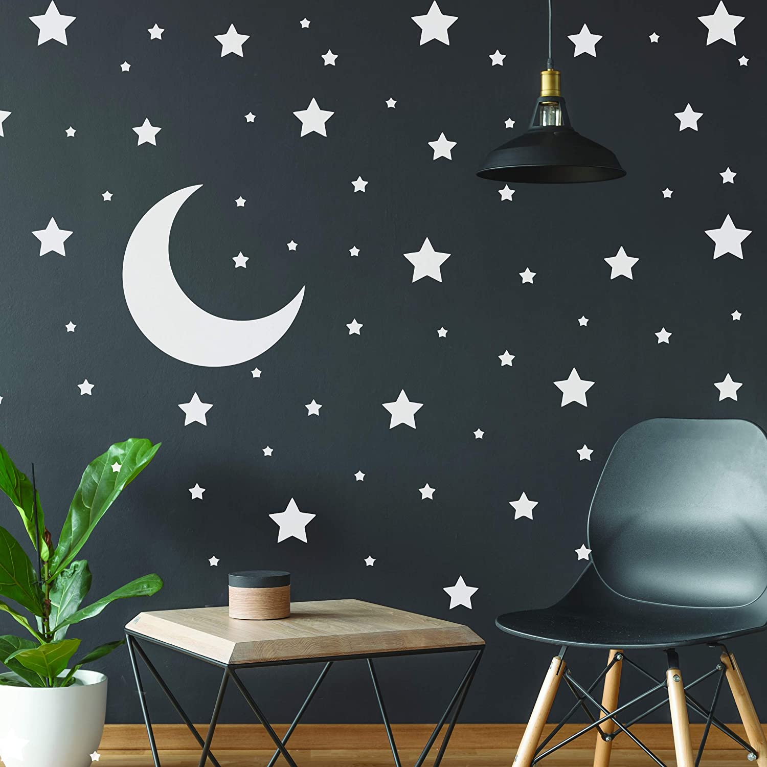 White Stars Stickers - Space Themed Bedroom Constellation Wallpaper Decor Decal - Star Moon Nursery Room Decals for Wall - 220 Stickers