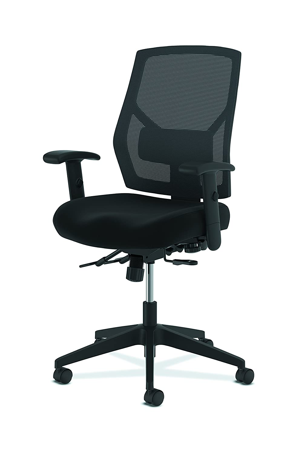 Leather Mesh Back Computer Chair with Asynchronous Control for Office Desk HON Crio High-Back Task Chair HVL582 Black