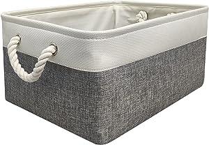 Protecu Storage Basket Cube Bins Organizer Collapsible Fabric Bin Box Basket with Handles for Gifts Empty | Medium Baskets for Organizing Toy Shelf Closet (White & Grey, 14.2x10.2x6.3 inch)