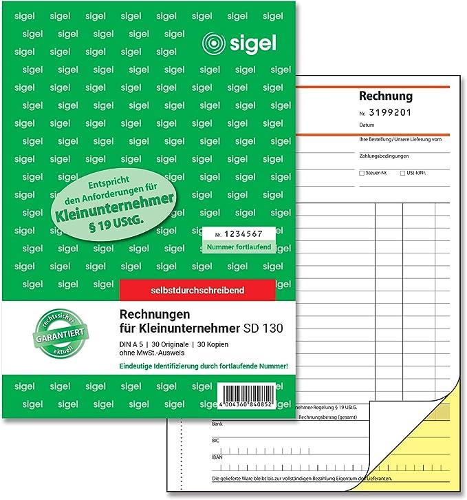 Sigel Sd130 Rechnungen Fur Kleinunternehmer A5 2x30 Blatt Selbstdurchschreibend Amazon De Burobedarf Schreibwaren