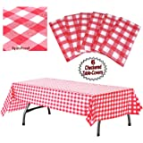 """Plastic Checkered Tablecloth   6 Pcs Pack - 54"""" Wide x 108"""" Long   Red and White Picnic Disposable Table Cover…"""