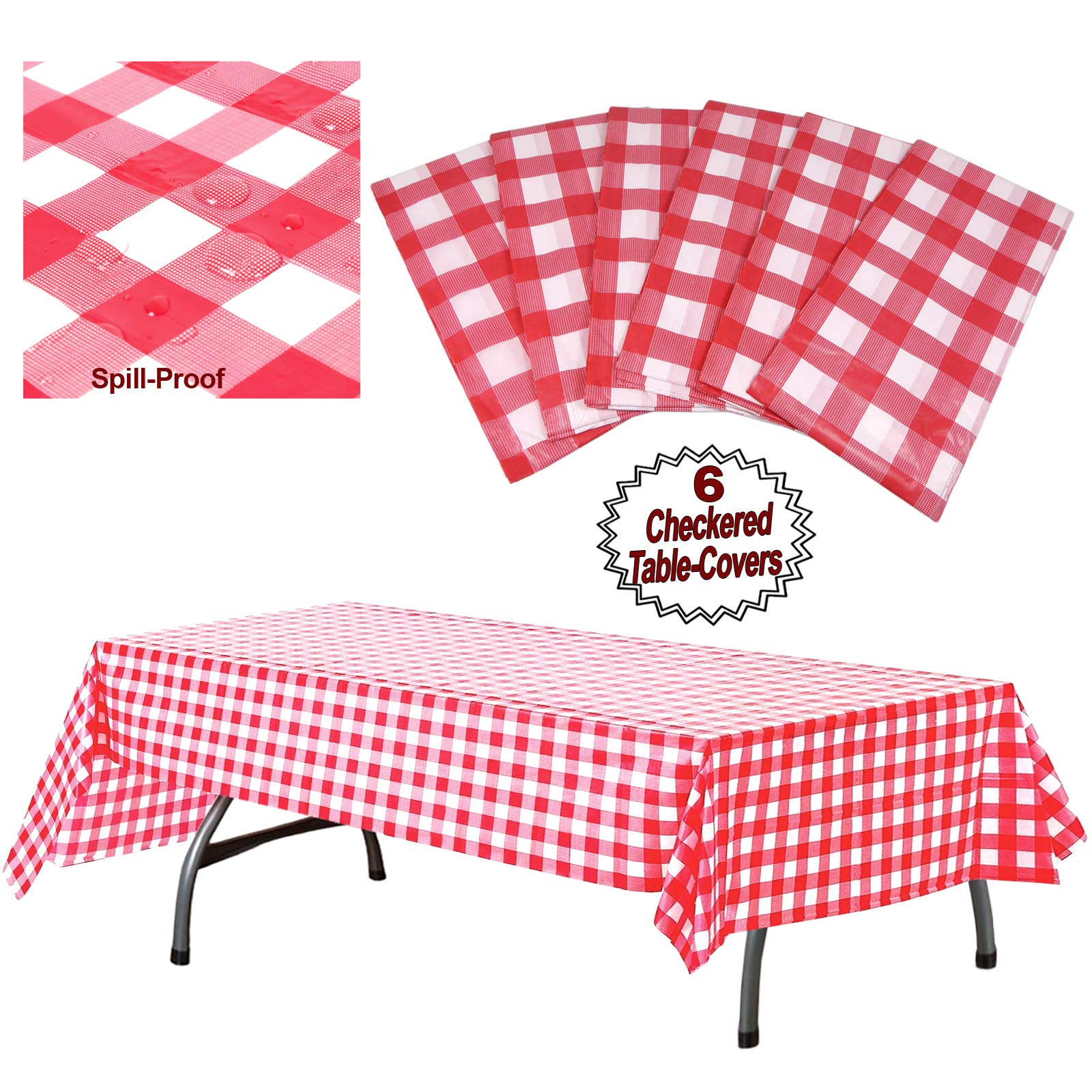 Plastic Checkered Tablecloth | 6 Pcs Pack - 54'' Wide x 108'' Long | Red and White Picnic Disposable Table Cover | Rectangular Gingham Tablecover for Birthdays, Carnivals, Parties | By Anapoliz by Anapoliz (Image #1)