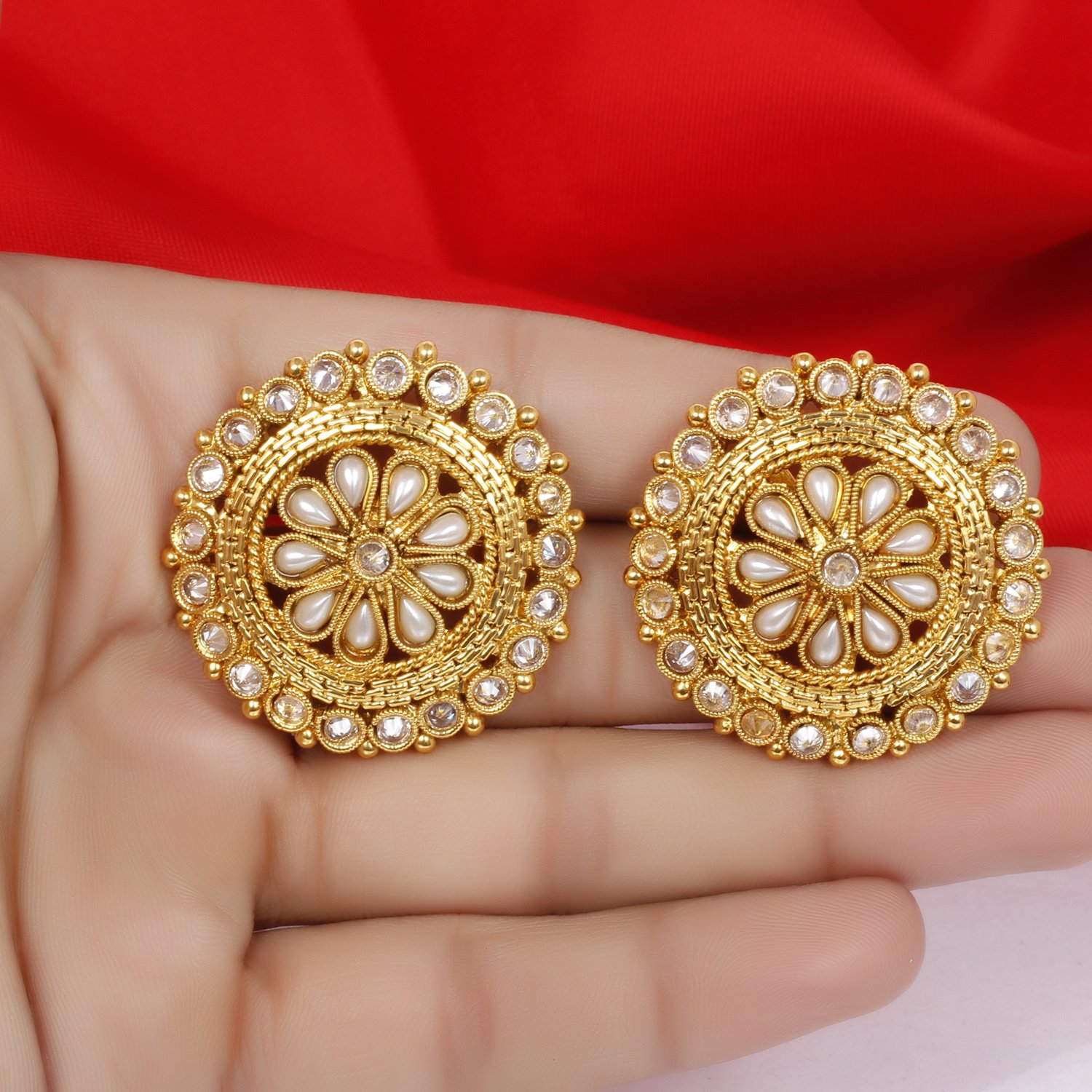 Indian Ethnic Traditional Bollywood Pearl Gold Plated Polki Earrings Partywear Wedding Jewelry