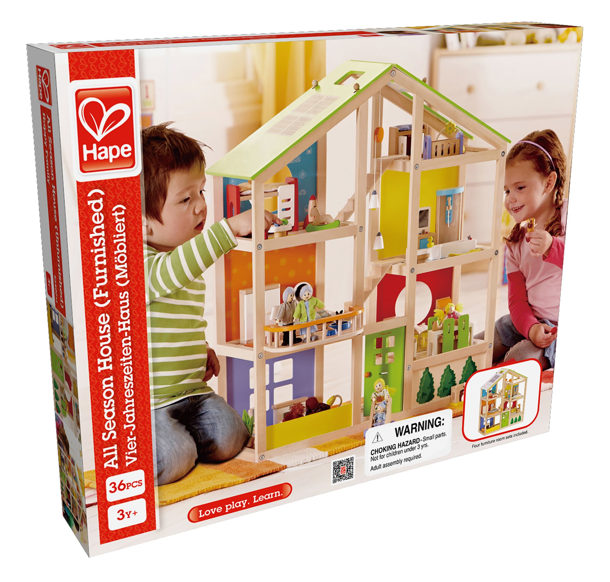 Hape All Seasons Kid's Wooden Doll House Furnished with Accessories by Hape (Image #5)
