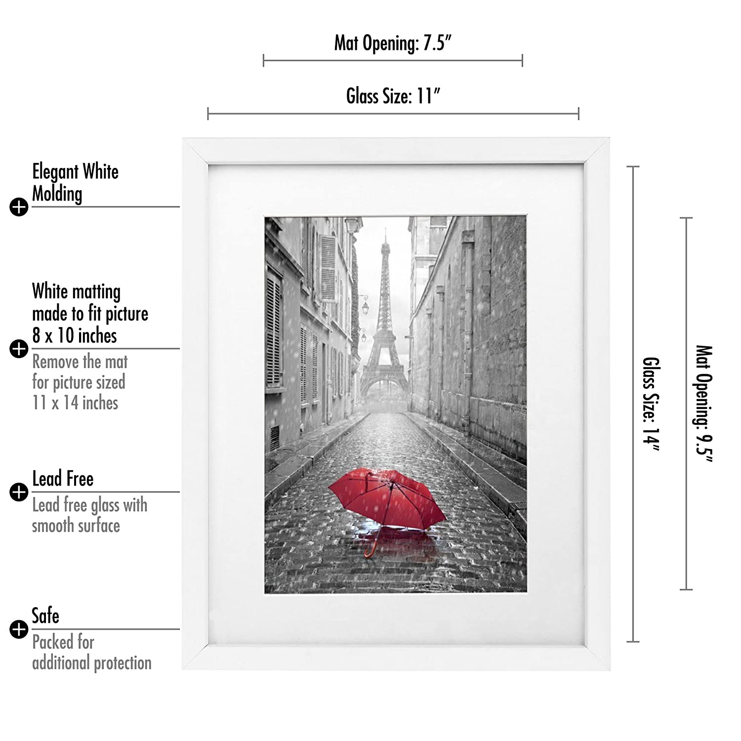 Amazon 11x14 white wall picture frame made to display amazon 11x14 white wall picture frame made to display pictures 8x10 with mat or 11x14 without mat made with glass jeuxipadfo Images