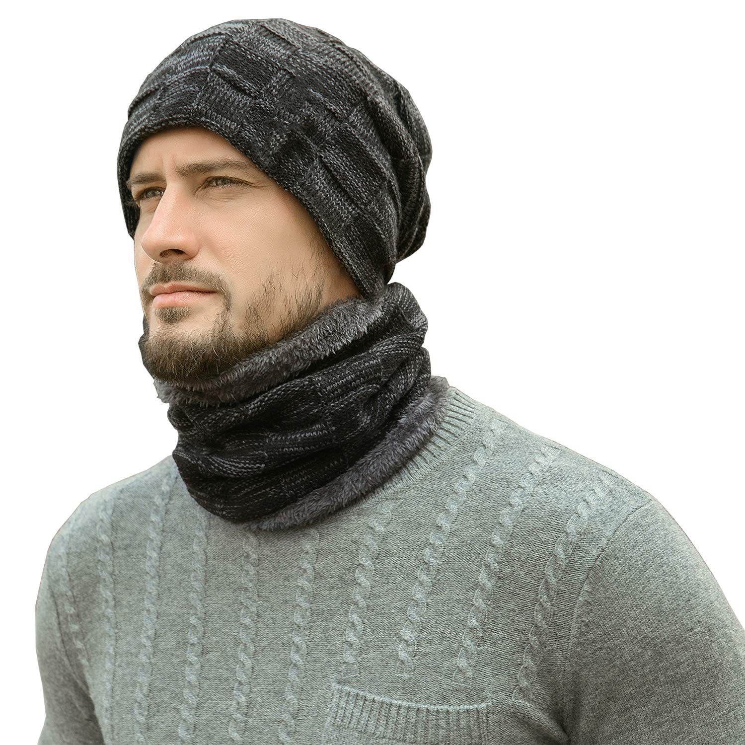 6c2a5af33677b Winter Beanie Hats Scarf Set Warm Knit Hats Skull Cap Neck Warmer with  Thick Fleece Lined Winter Hat & Scarf for Men Women Black at Amazon Men's  Clothing ...