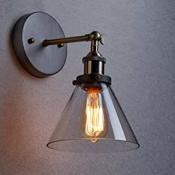 CLAXY Ecopower Industrial Edison Antique Glass 1 Light Wall Sconces  Simplicity