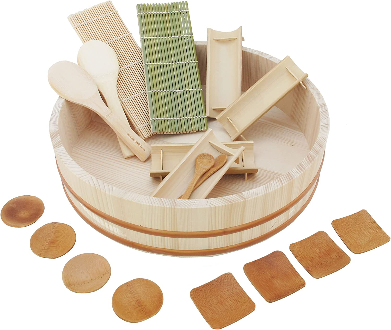 BambooMN 15.3 Sushi Oke Tub Hangiri with 19 Pieces Sushi Making Serving Accessory Kit