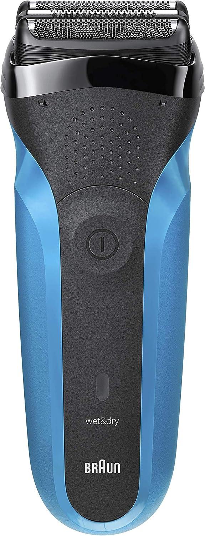 Braun Series 3 310 Afeitadora Eléctrica, Maquinilla Wet & Dry para Barba Hombre con 3 Láminas Flexibles, Recargable e Inalámbrica, Lavable, Negro/Azul
