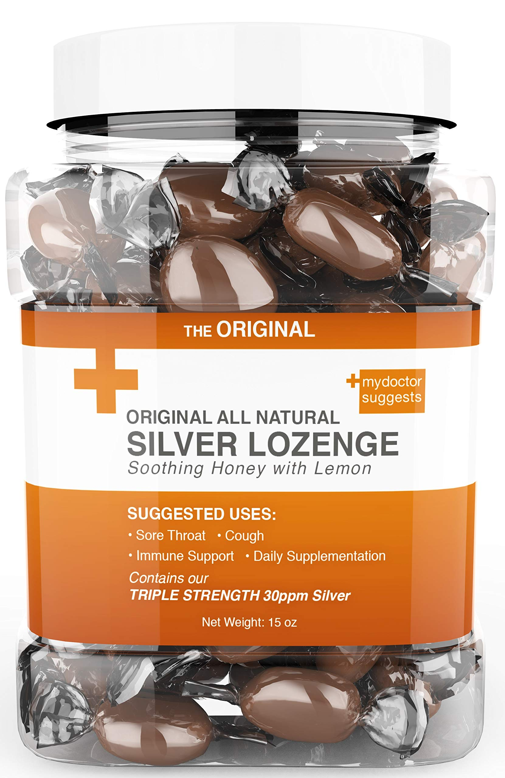 Original All Natural Silver Lozenges - Soothing Honey with Lemon: The Perfect Cough Drop for Cough, Throat & Mouth Health or Even Daily Supplementation & Immune Support, Contains 30ppm Silver by My Doctor Suggests