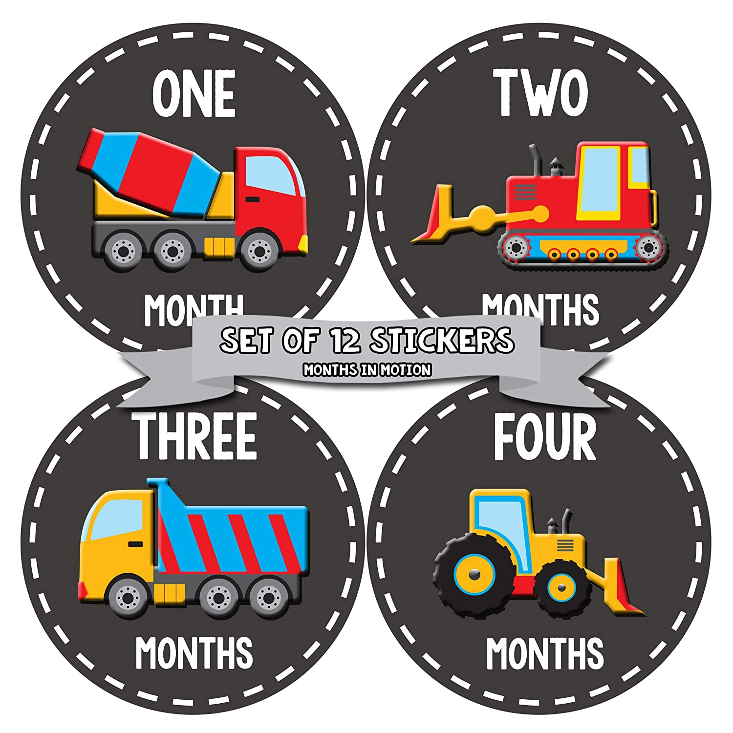 Months In Motion - Baby Month Stickers - Monthly Baby Sticker for Boys - Construction Trucks (1092) 1062