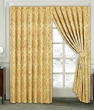 Rubby Vorhang Ornament Barock Gold Gardinen Mit Kruselband 2 Vorhnge 167x183cm BxH Gardine Fr
