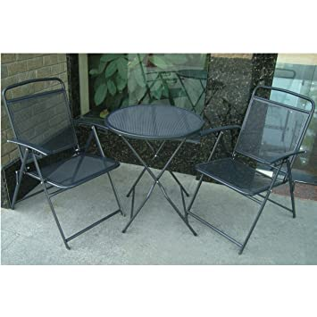 BenefitUSA 3 Piece Bistro Patio Set Table And Chairs Outdoor Wrought Iron  CAFE Set METAL
