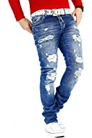 RedBridge Herren Jeans Freizeitjeans Freizeithose Denim Hose Slim Fit Clubwear Streetwear Destroyed Biker