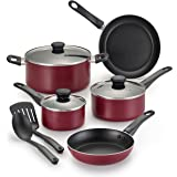 WearEver B023SA Complete Nonstick Dishwasher Safe Cookware Set, 10-Piece, Red