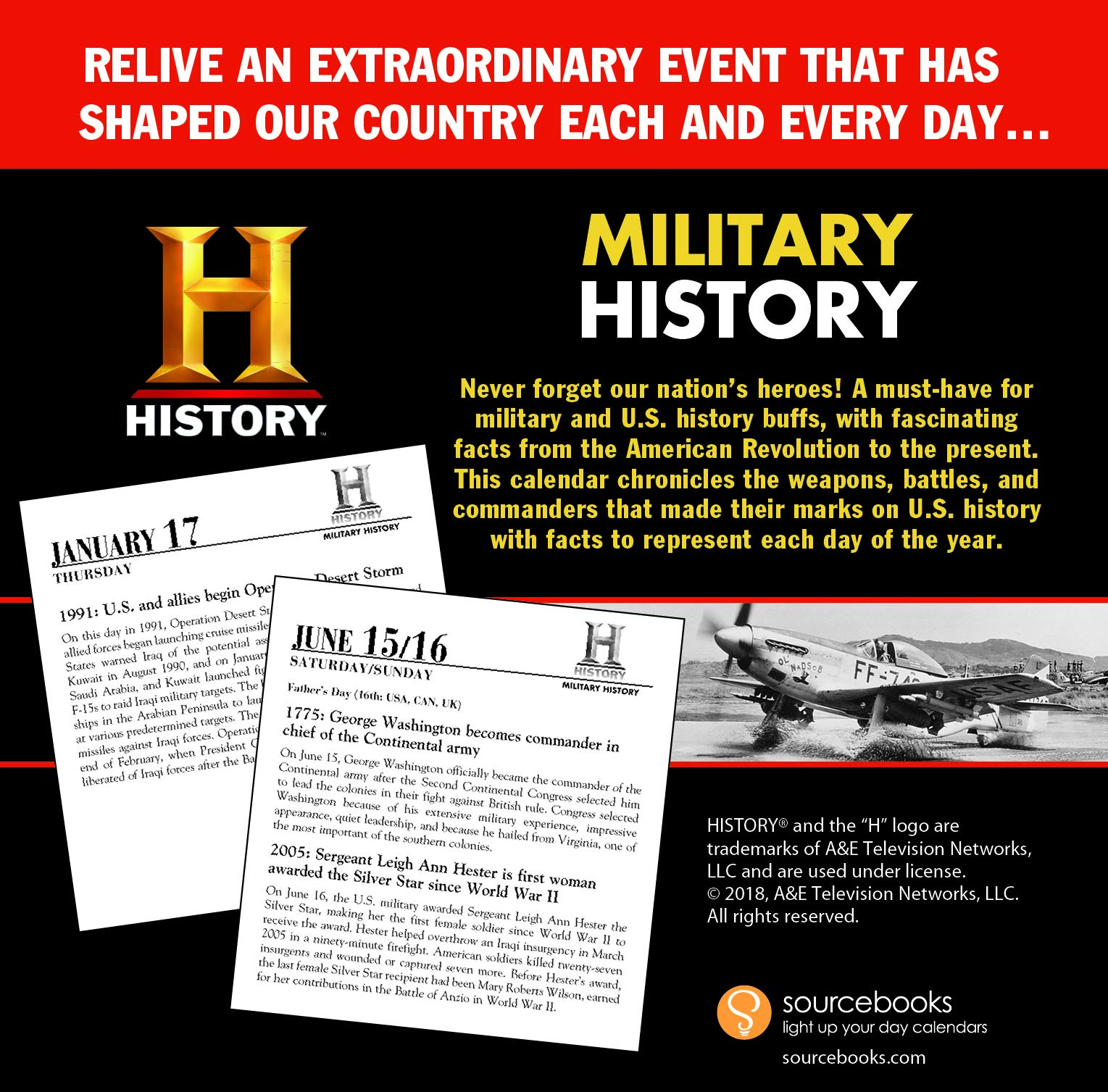 2019 history channel this day in military history boxed calendar 365 days of americas greatest military moments history channel 9781492663690
