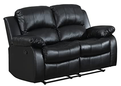 Phenomenal Homelegance Resonance 60 Bonded Leather Double Reclining Loveseat Black Gmtry Best Dining Table And Chair Ideas Images Gmtryco