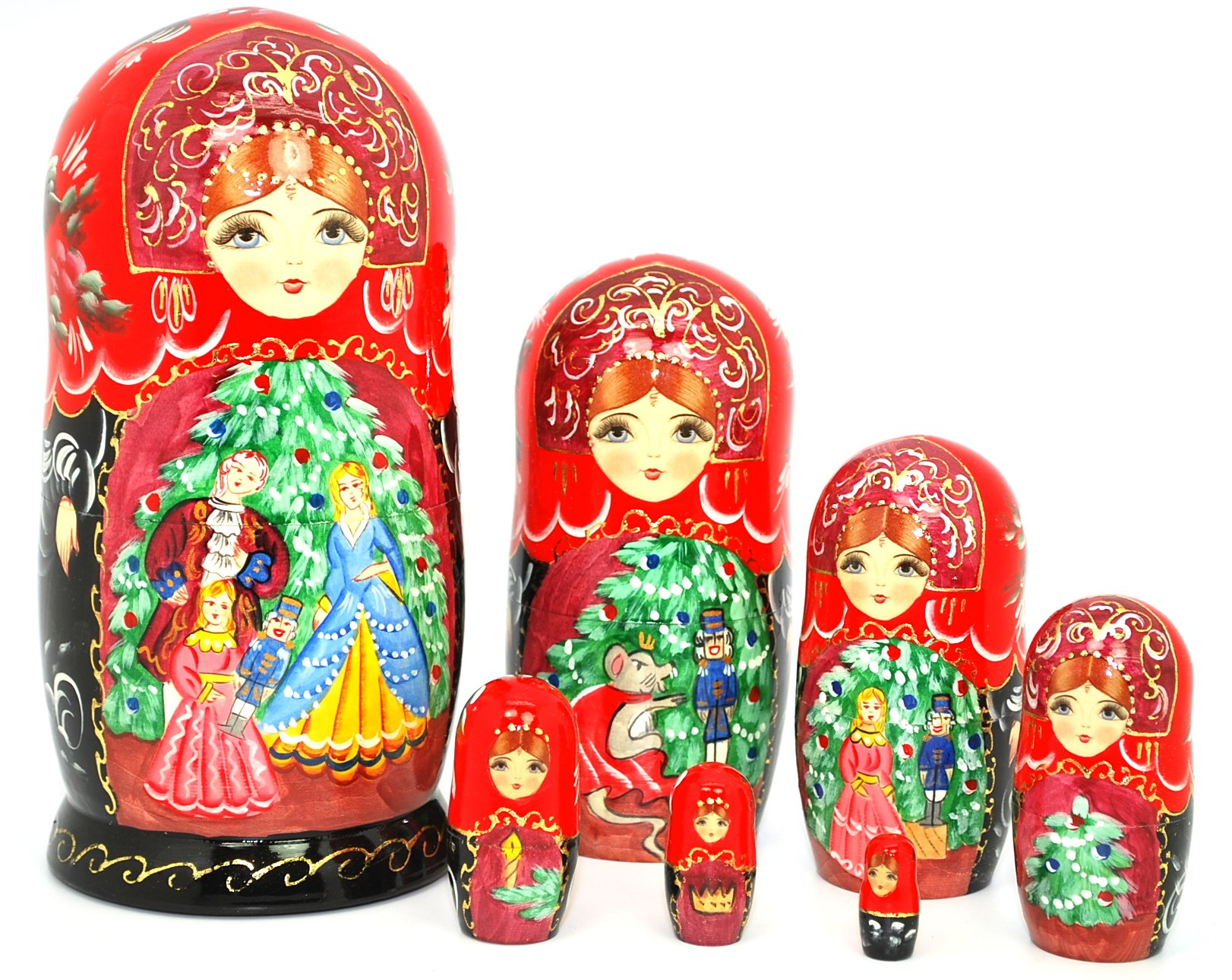 Authentic Russian Hand Painted Nutcracker Set of 7 Pcs Nesting Doll/Matryoshkas Artist Signed