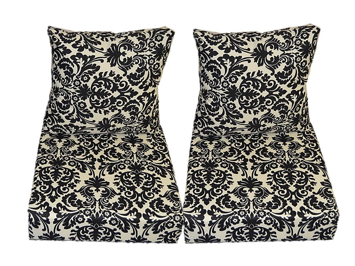 Black and Cream / Ivory Damask Scroll Cushions for Patio Outdoor Deep Seating Furniture Loveseat - Choice of Size (SEAT CUSHION - 24'' W X 25'' D / BACK CUSHION - 24'' W X 21'' D)