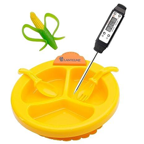 Juego de plato, termómetro, mordedor y cubiertos para bebés, de Digital Babyflaschen,