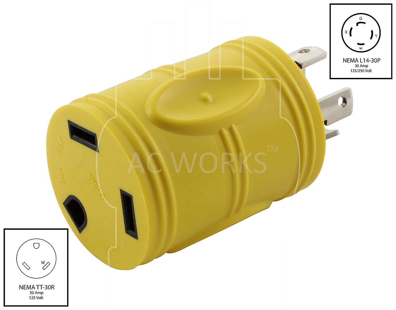 AC WORKS Generator to 30Amp RV Adapter (L14-30 30A 4-Prong Locking on nema l5-30r wiring diagram, nema l14-20r wiring diagram, nema 6-50r wiring diagram, nema 5-20r wiring diagram, nema 14-30r wiring diagram, nema l21-30r wiring diagram, nema 6-30r wiring diagram, nema 14-20r wiring diagram,
