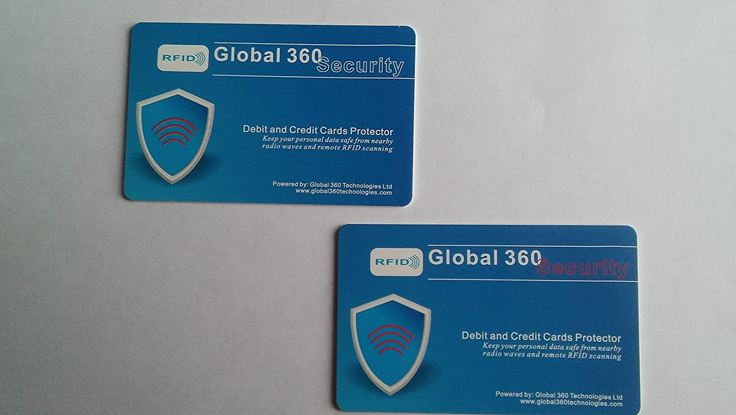 RFID Debit and Credit Cards Protector Protect your wallet and credit cards from e-pickpocketing It keeps your data safe from nearby RFID wave /& remote RFID Scanning Global 360 Security