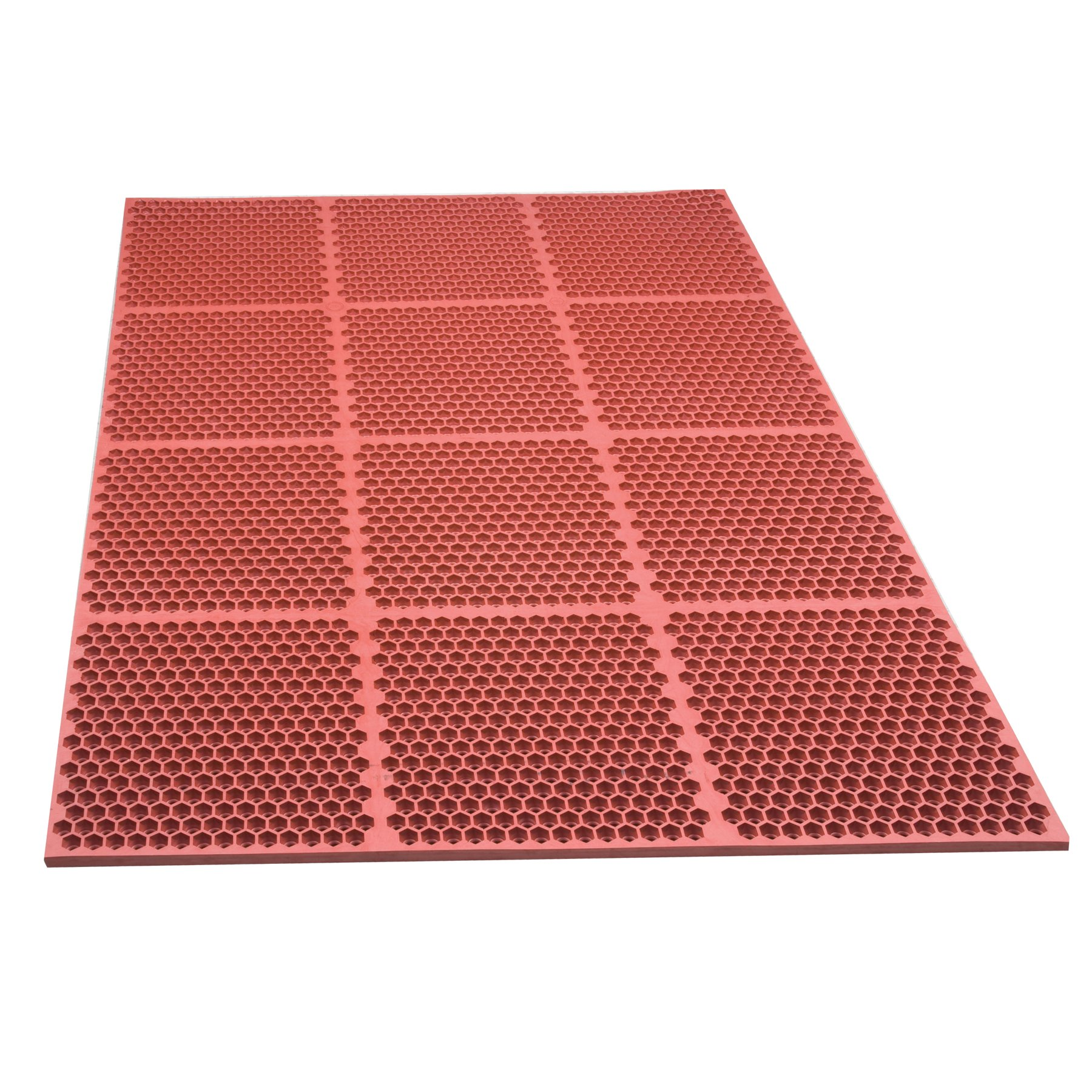NoTrax T15 Heavy Duty Nitrile Rubber Optimat Safety/Anti-Fatigue Mat, for Wet or Greasy Areas, 3' Width x 6' Length x 1/2'' Thickness, Red