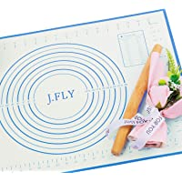 J.FLY Silicone Pastry Mat 16 x 24inch Non-Stick Baking Mat with Measurement Extra-Thick Large Multipurpose Countertop…