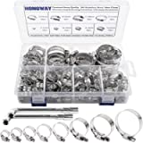 HongWay Hose Clamp Stainless Steel Assortment 78Pcs Adjustable Range 1/4-2 in(6-51mm), 304 Stainless Steel Hose Clamp…