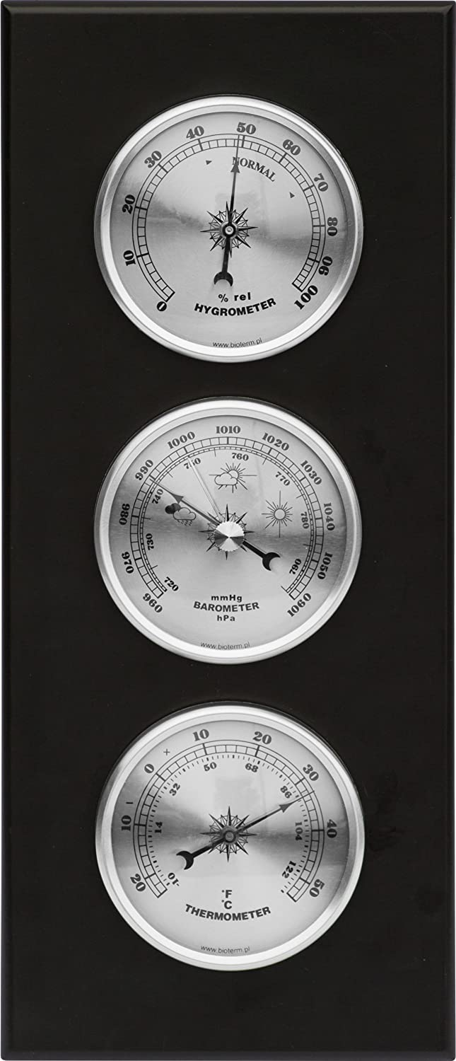 Wall Weather Station Barometer Thermometer Hygrometer Silver Dials Quality Instrument 094009