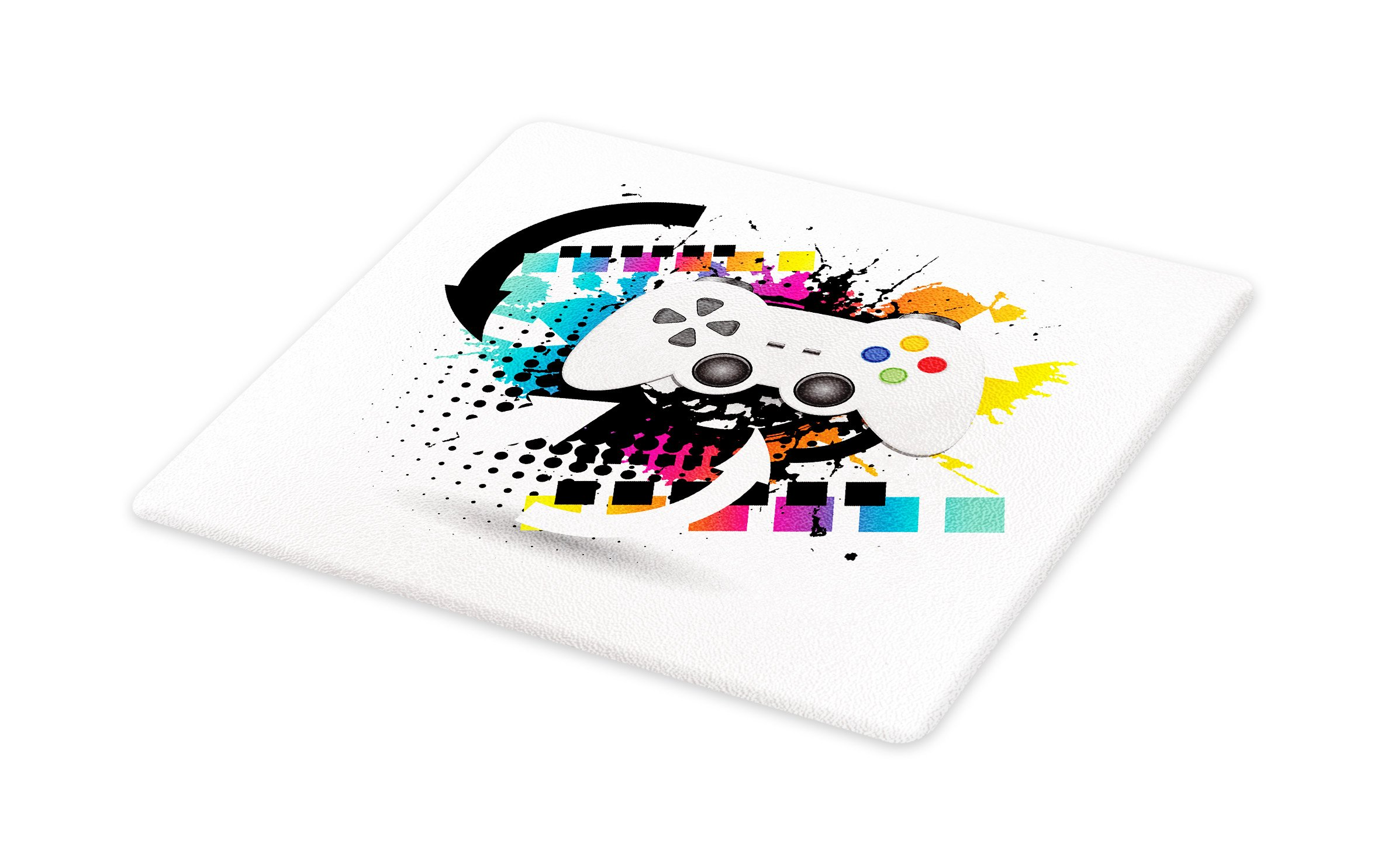 Lunarable Gamer Cutting Board, Modern Console Game Comtroller with Halftone Motif and Color Splashes Background, Decorative Tempered Glass Cutting and Serving Board, Large Size, Multicolor