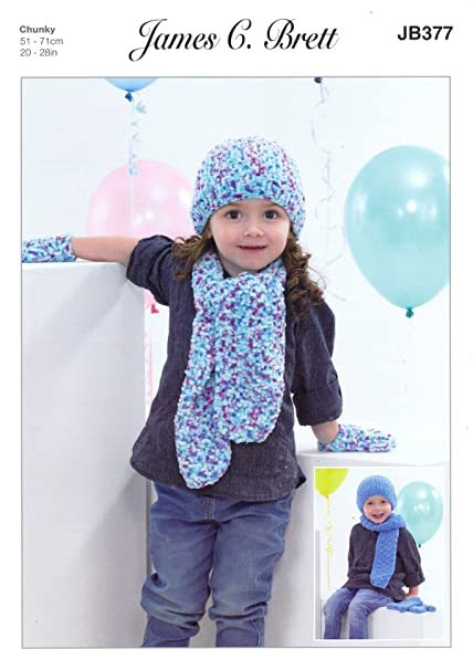 James Brett Chunky Knitting Pattern Kids Hat Scarf Mittens