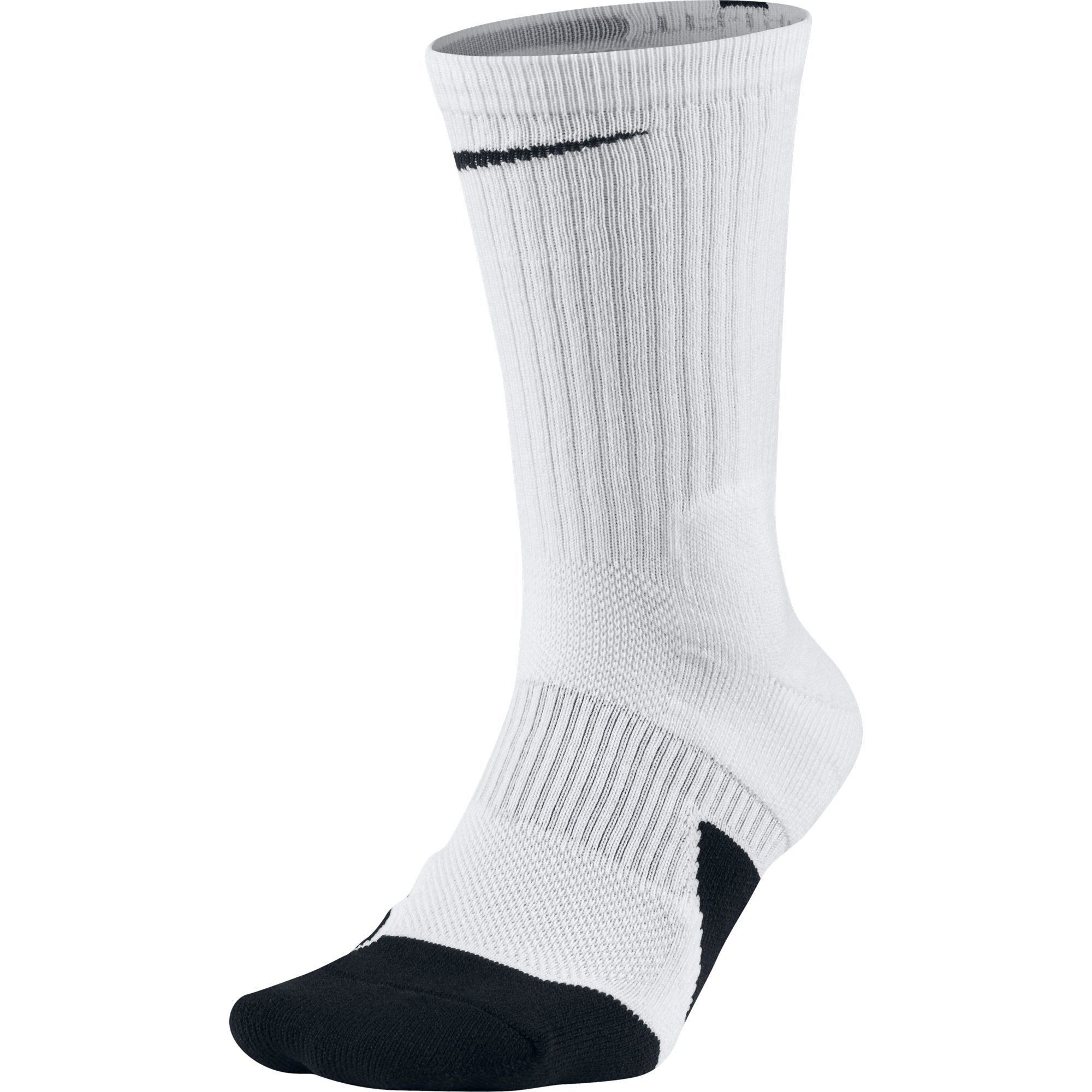 NIKE Unisex Dry Elite 1.5 Crew Basketball Socks (1 Pair), White/Black/Black, Small