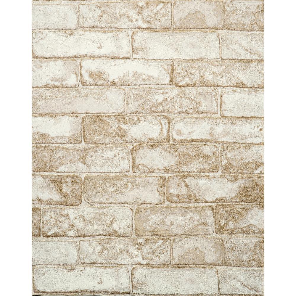 York Wallcoverings Modern Rustic Brick Wallpaper 8 X 10 Memo Sample Slate Gray Coconut White