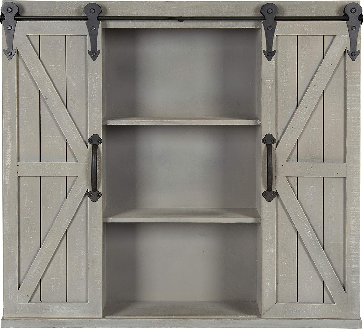 Rustic White Kate and Laurel Cates Wood Wall Storage Cabinet with Two Sliding Barn Doors