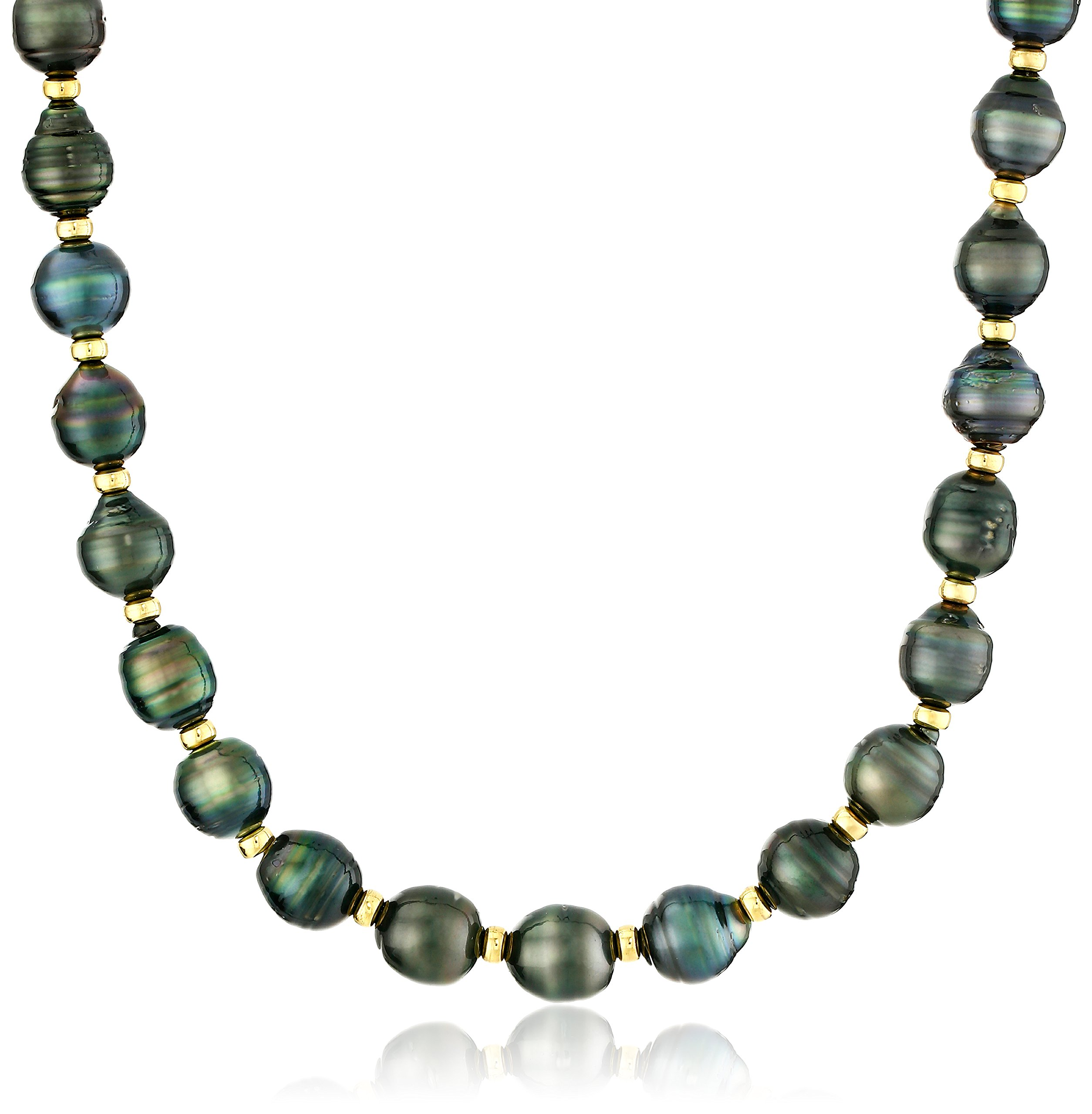 18k Yellow Gold Plated Silver 8-10mm Rondelle Black Baroque Tahitian Cultured Pearl Strand, 18''