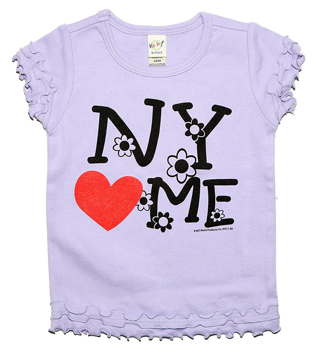 S /& T World Products Inc Baby Girls NY Loves Me Crewneck T-Shirt